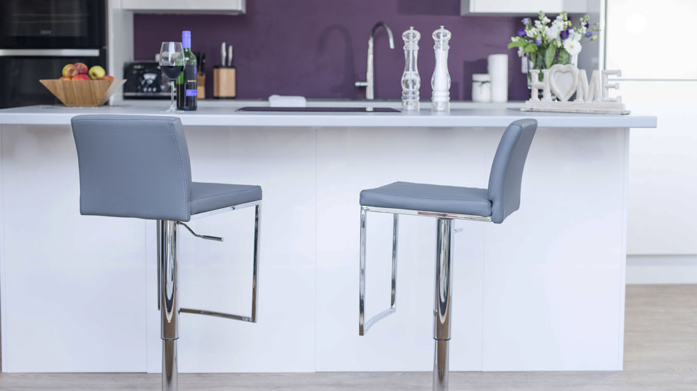 Grey Bar Stools with Back Rest