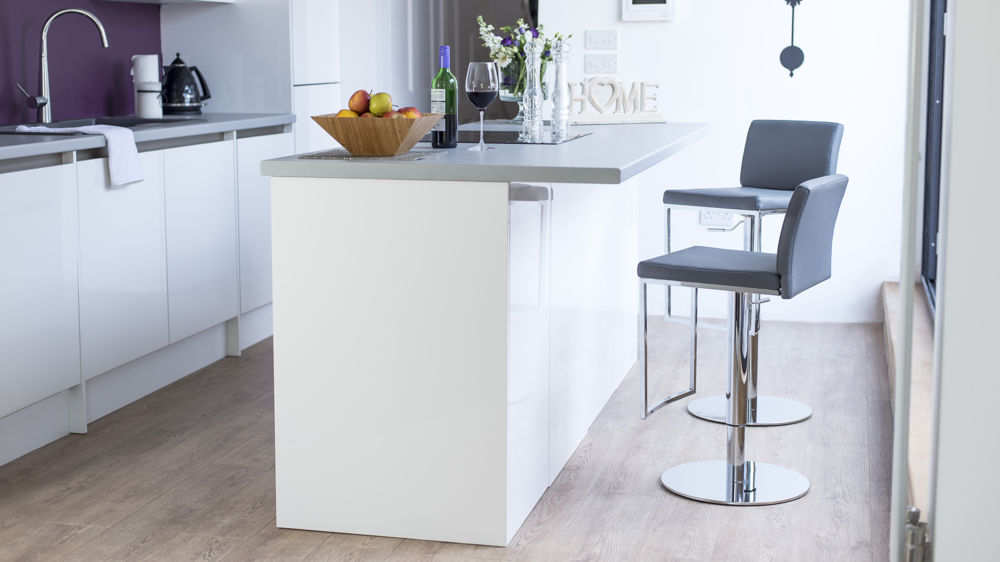 Grey Bar Stools and Chrome Pedestal Base