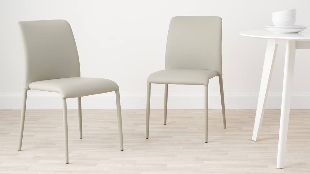 Cool grey faux leather dining chairs stackable