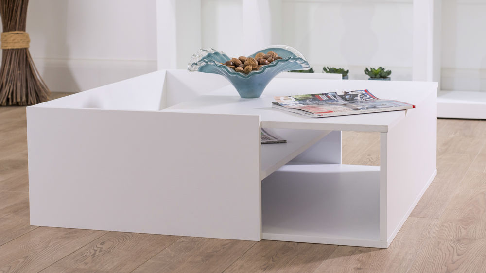 White Coffee Table with Internal Storage Space
