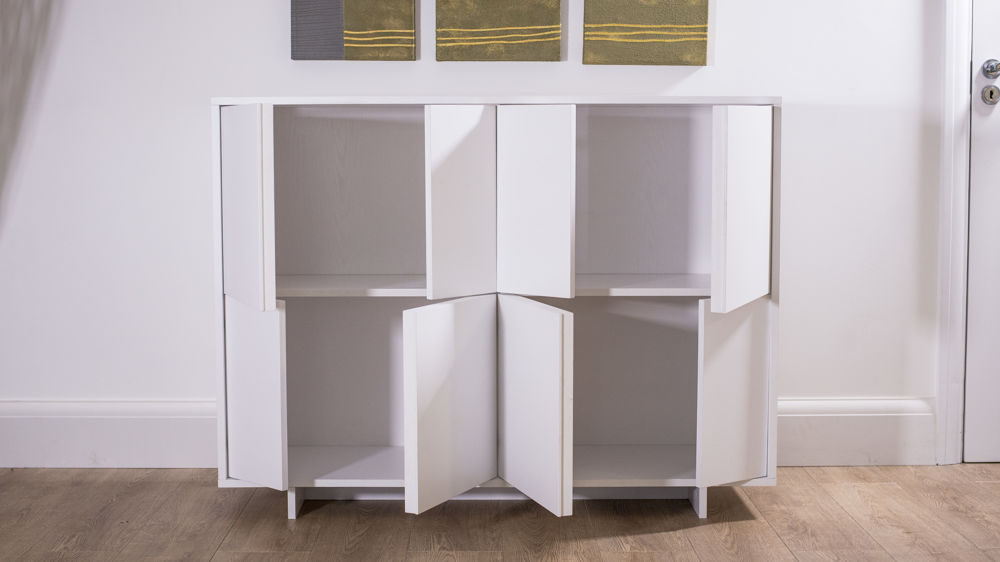 White Sideboard with 4 Large Cupboards