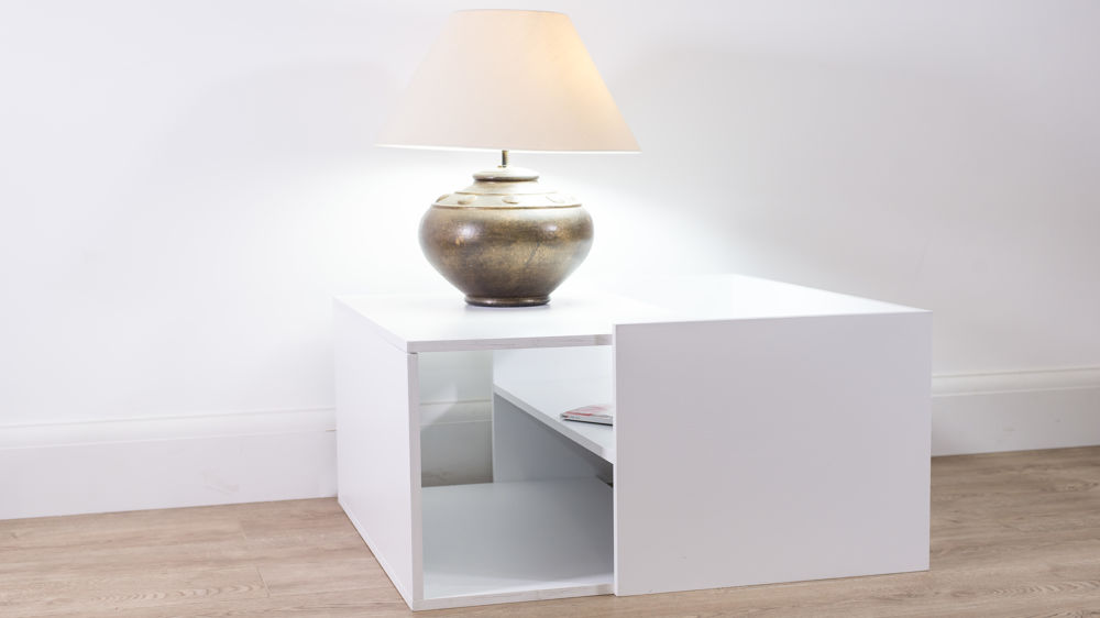 White Small Coffee Table with Internal Storage
