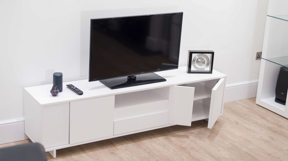 White Wood Veneer TV Unit