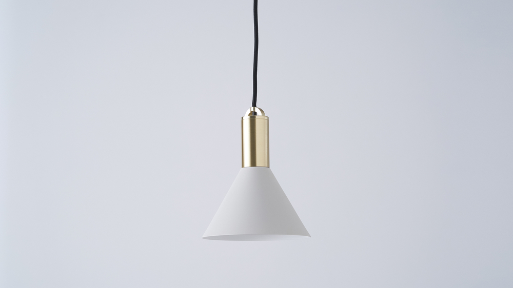 Light grey and brass pendant light