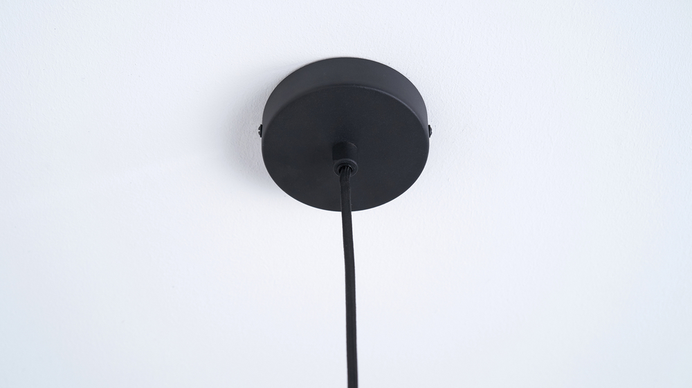 Black brass and light grey pendant light