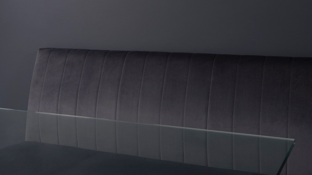 Ophelia grey velvet dining bench