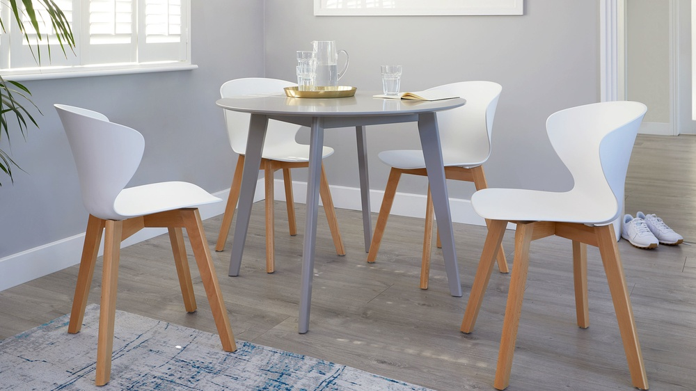 Ora wooden and plastic colourful dining chairs