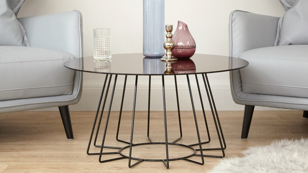 Bronze mirror round coffee table