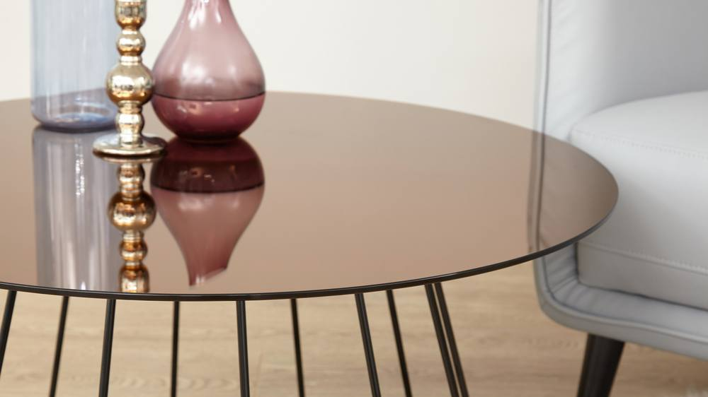 Bronze Glass Coffee Table Living Room Furniture Uk
