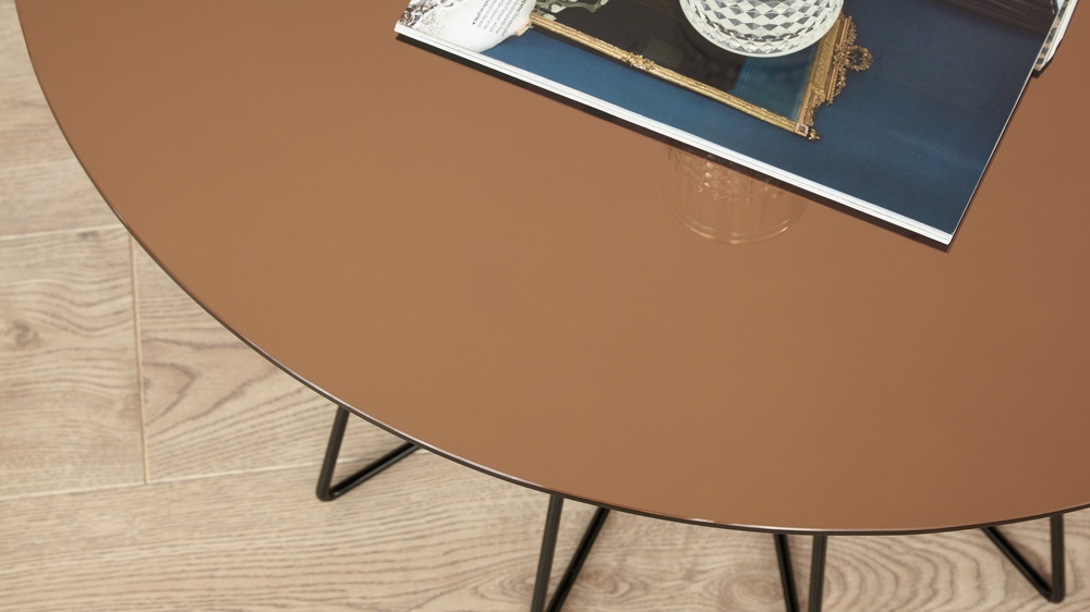 modern metalic glass top round coffee table