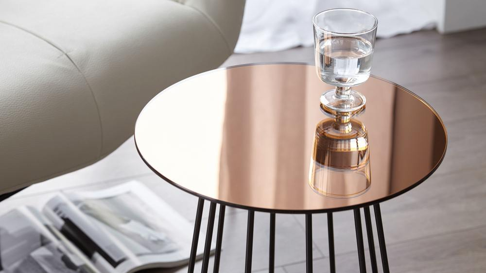 metallic mirrored side table