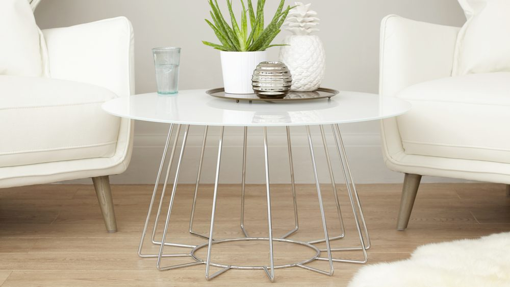 White glass and chrome coffee table living room furniture for White and glass coffee table