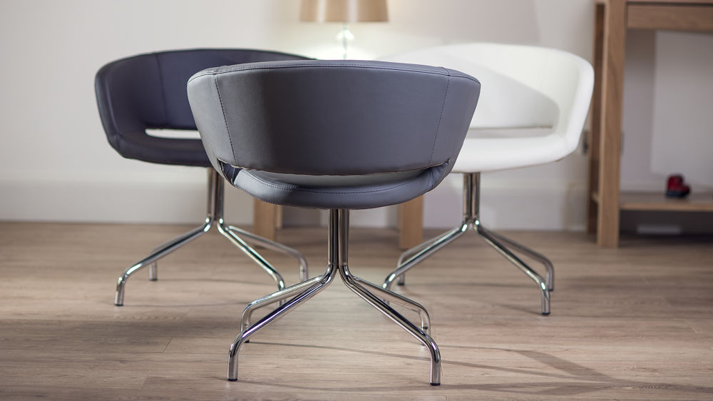 Chrome Legged Swivelling Dining Chair