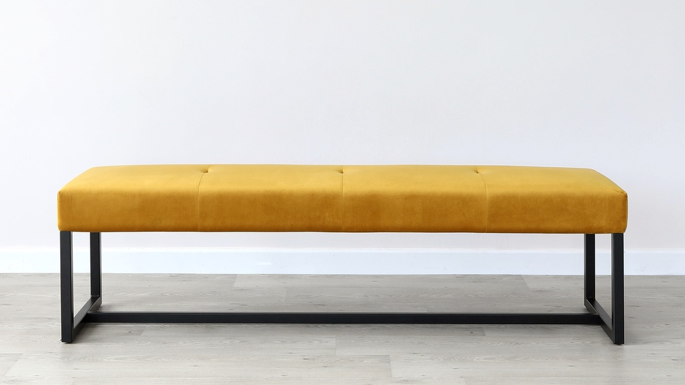 Otis Mustard Yellow Velvet 3 Seater Backless Bench