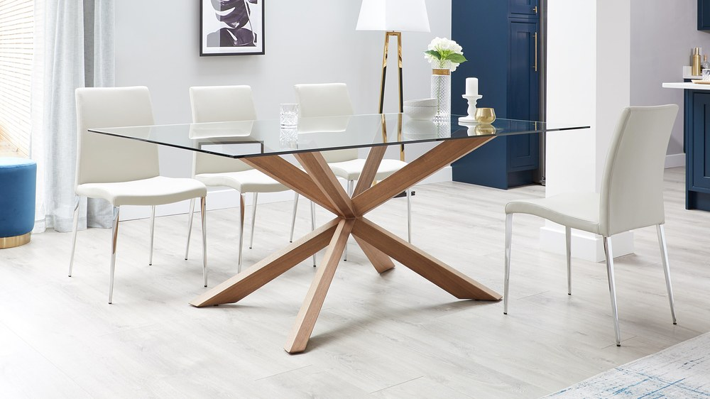 Modern wooden glass table