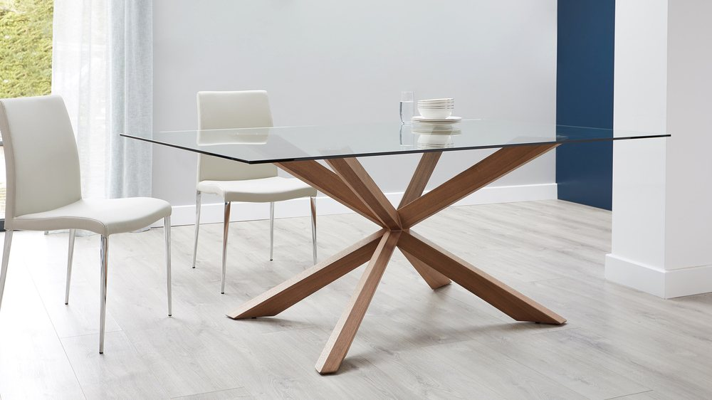 Buy glass and wooden table