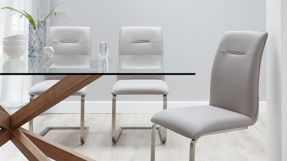 Cool grey cantilever dining chairs