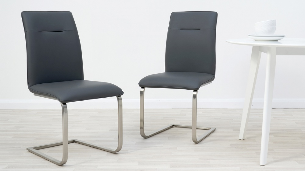 Dark grey faux leather dining chairs