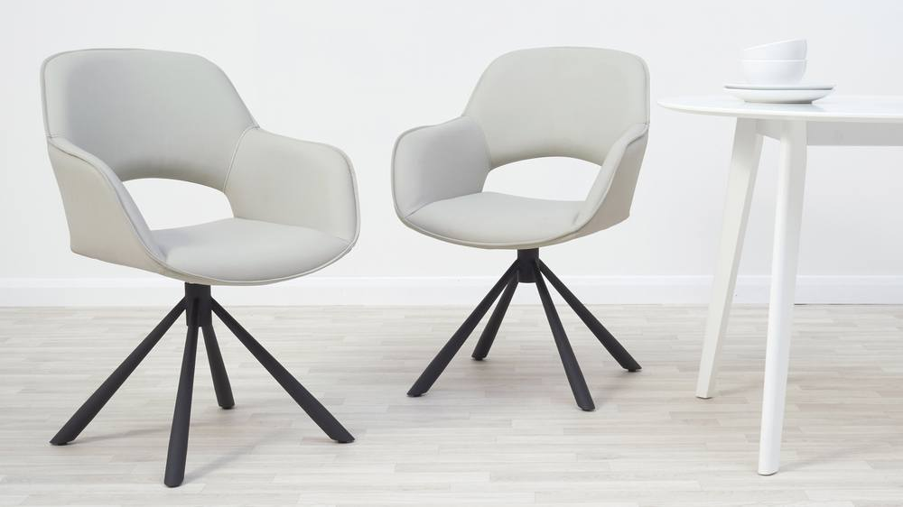 Light grey swivel dining chairs