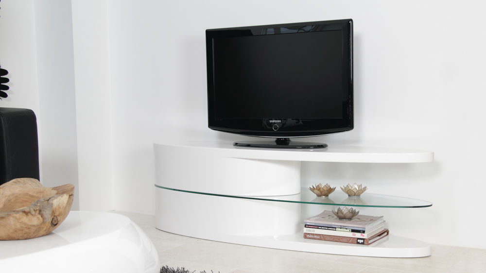 White High Gloss TV Table With Shelves