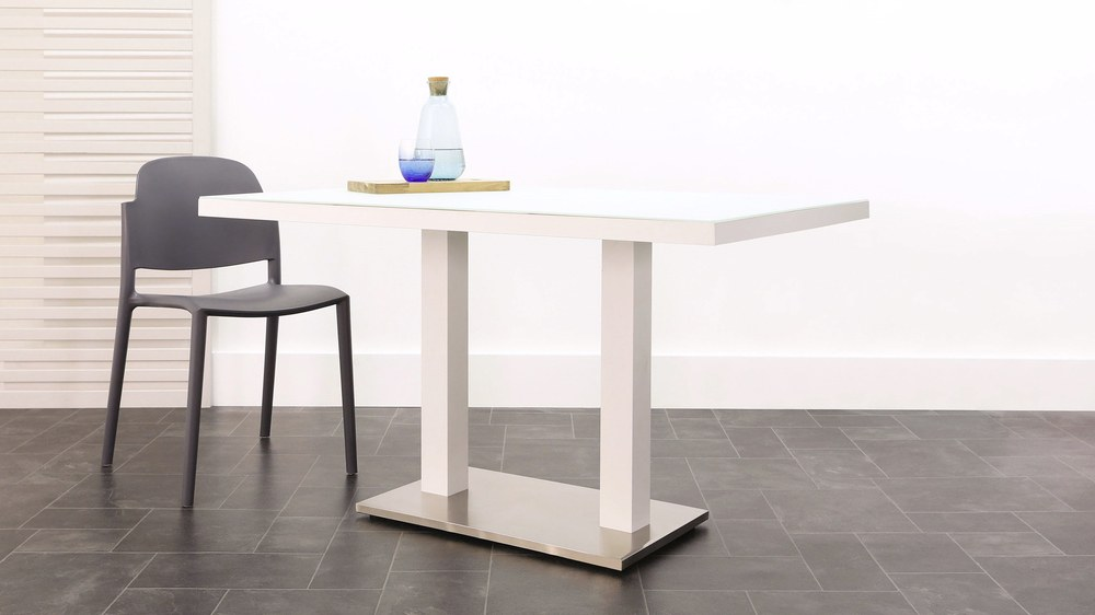 White 6 seater modern frosted glass dining table