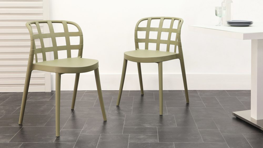 Olive coloured stacking outdoor chairs
