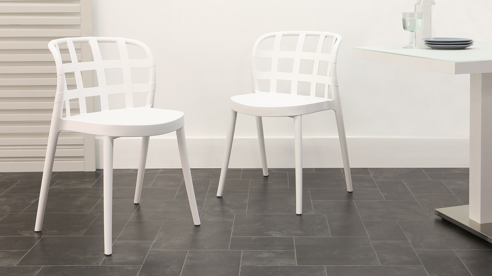 White modern stacking garden chairs