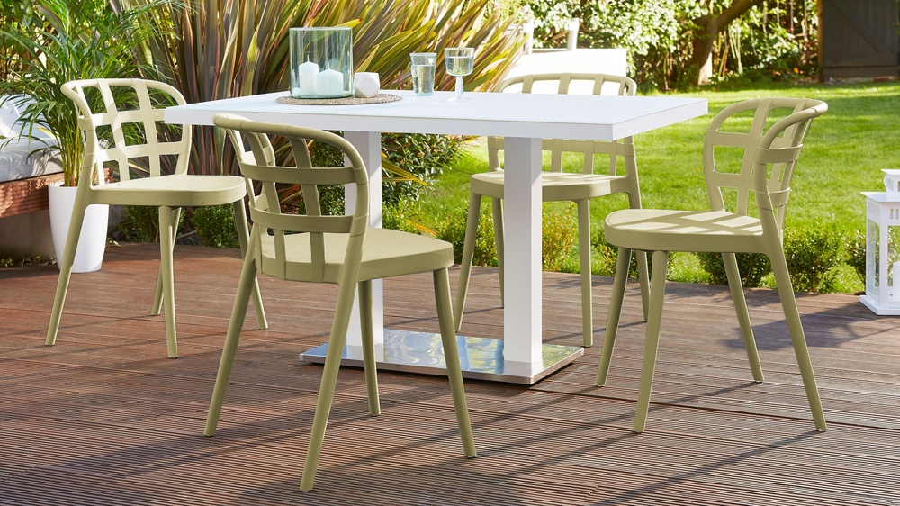 Olive coloured garden chairs