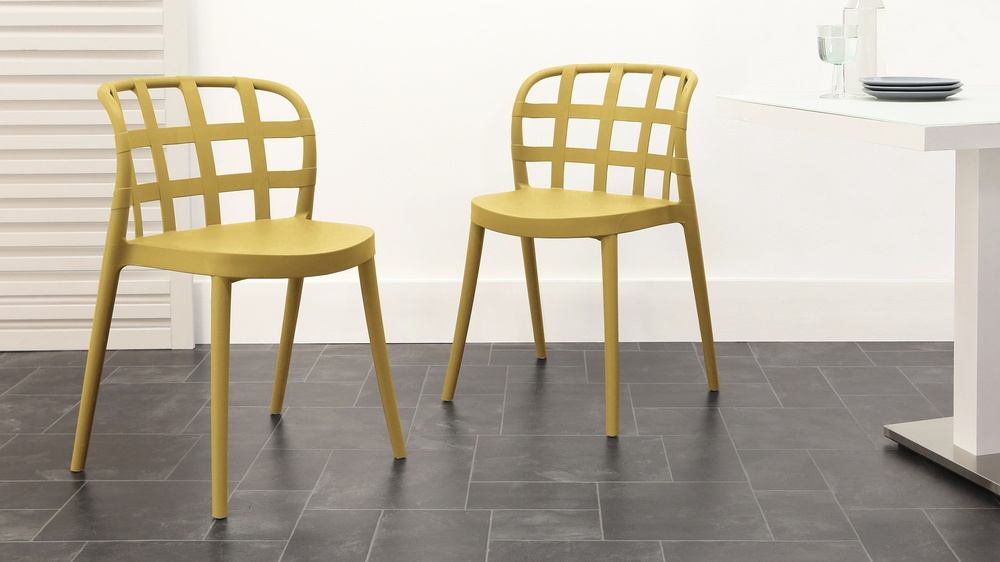 yellow outdoor dining chair
