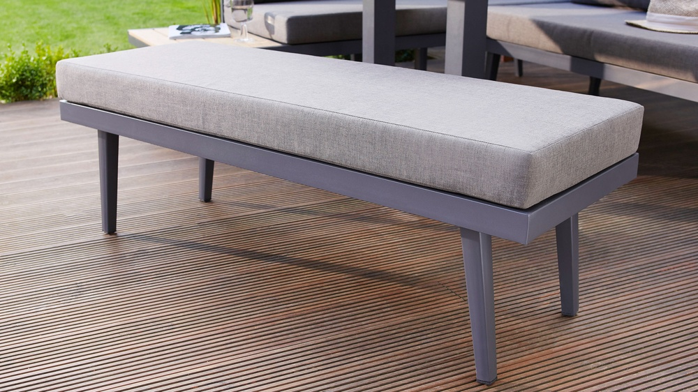Modern grey small garden bench