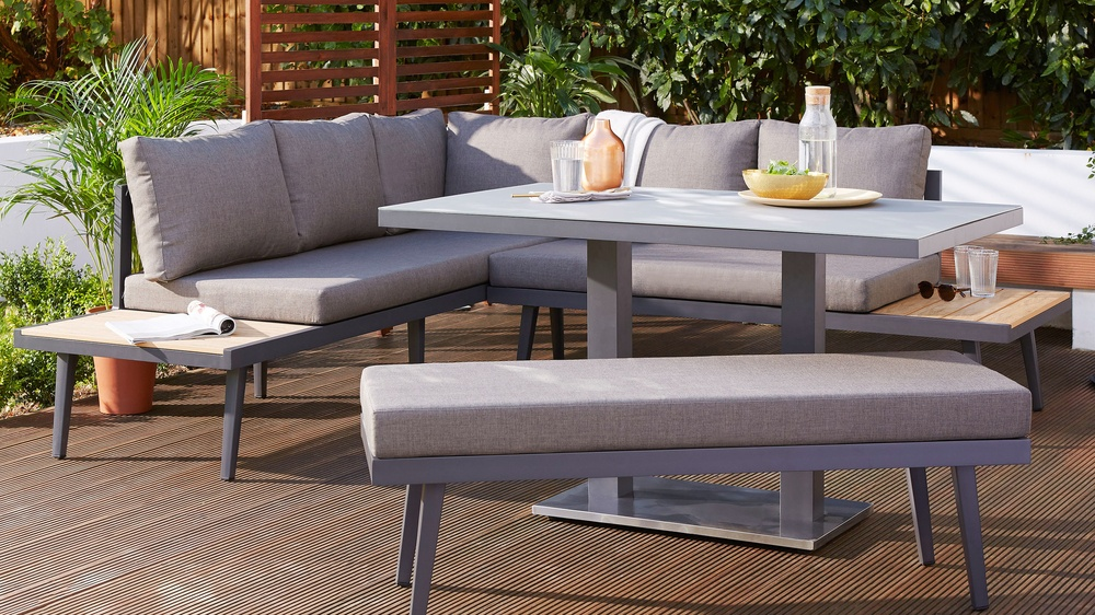 Palermo grey 4 seater pedestal garden table