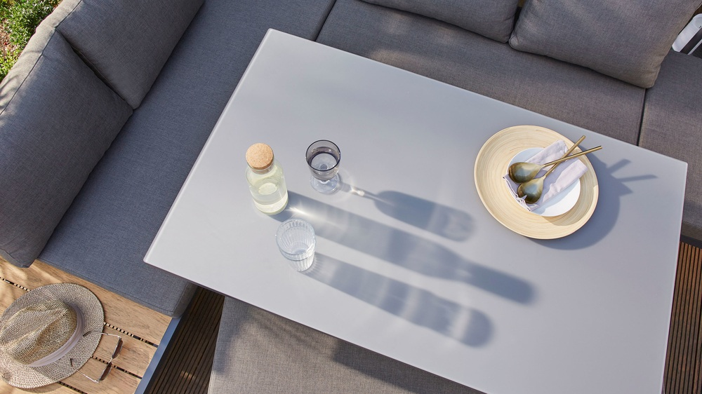 Buy grey frosted glass garden table