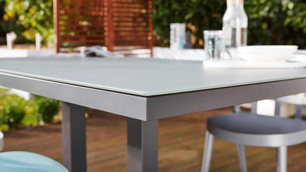Frosted glass garden tables