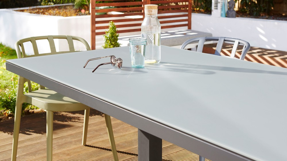 Frosted glass outdoor tables
