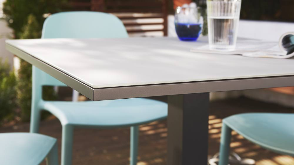 Grey frosted glass outdoor table