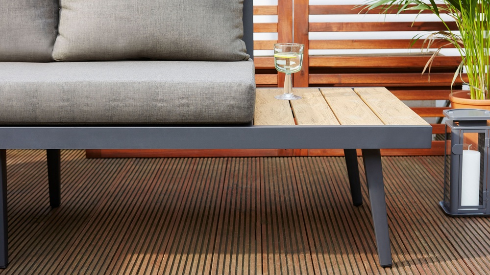 Modern dark grey bench