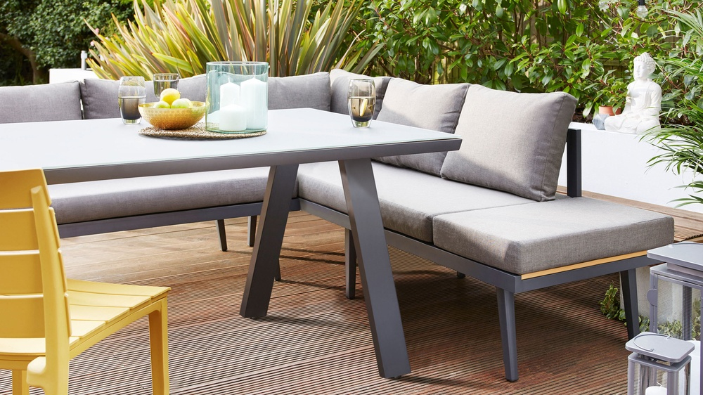 Palermo Grey Left Hand Corner Outdoor Dining Bench