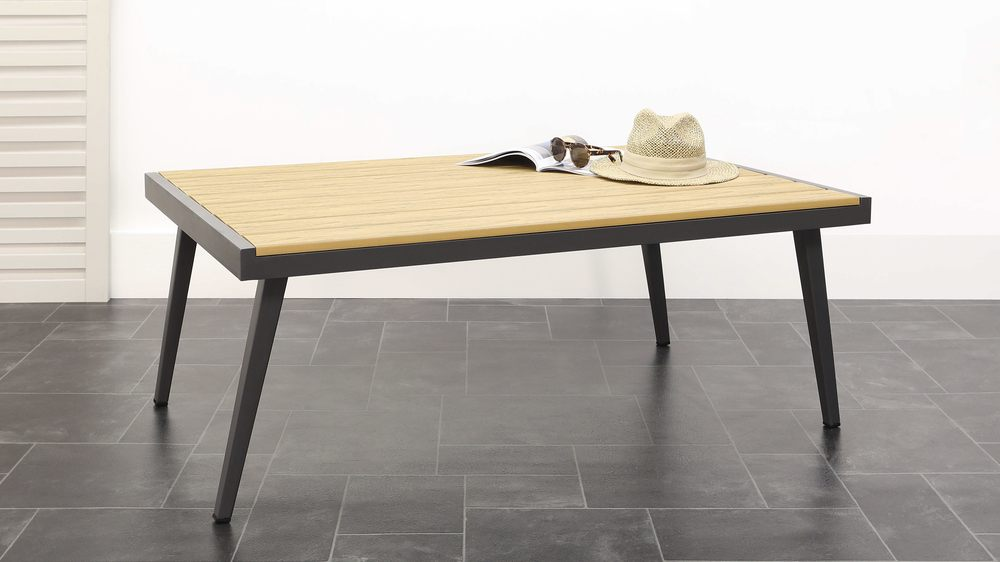 Dark grey aluminium and wood coffee table