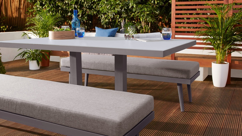 Glass outdoor dining table