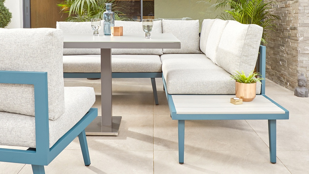 Teal garden bench sets