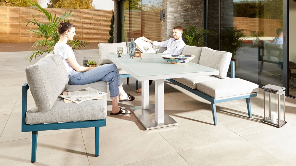 Teal outdoor 3 seater benches