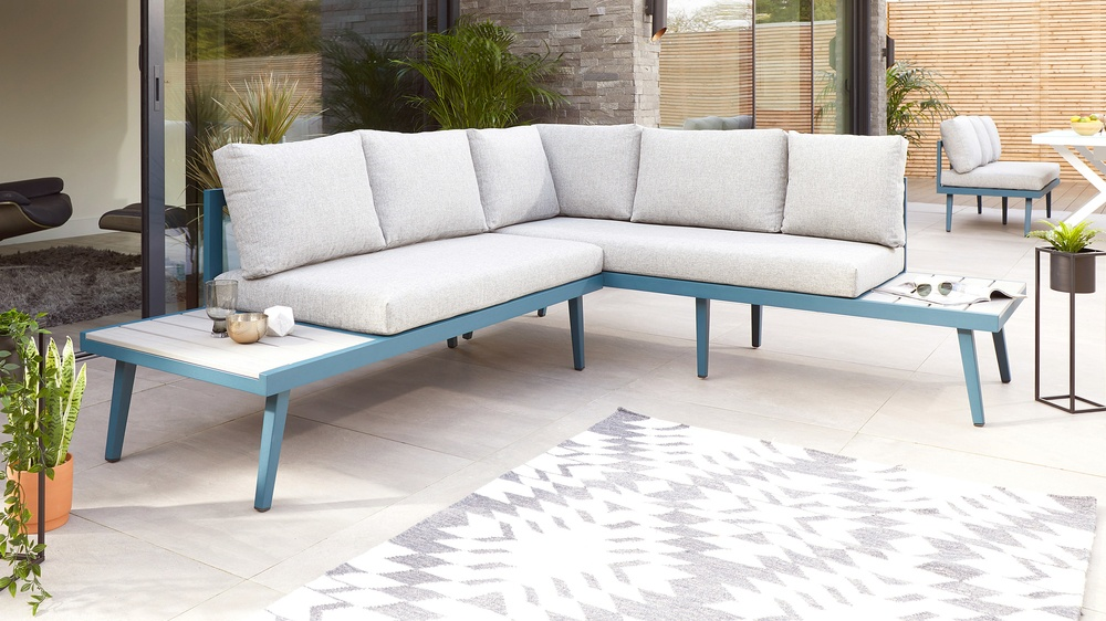 Buy modern teal corner benches for garden