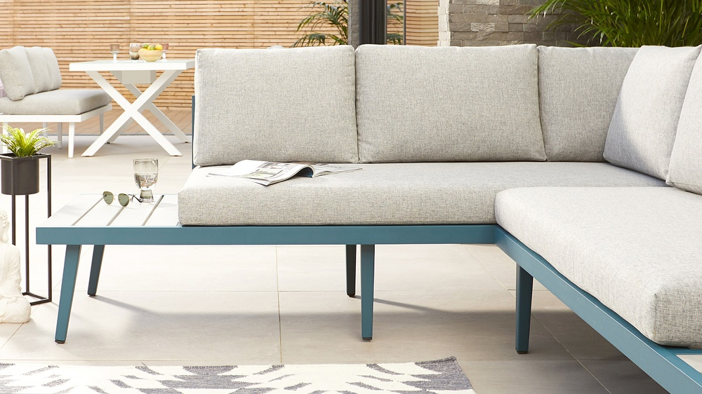 Large modern corner bench for garden
