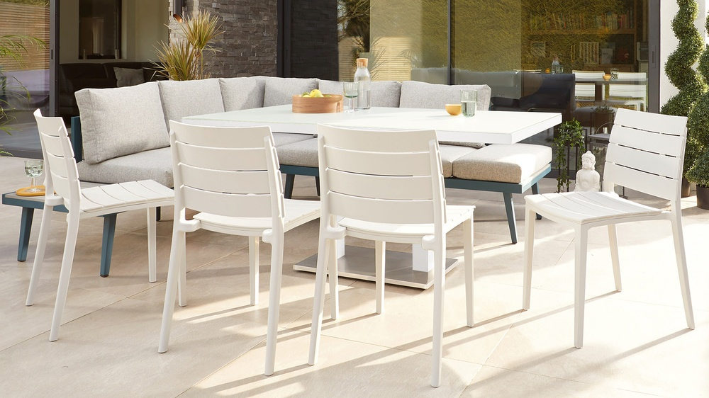 Outdoor dining set with corner bench