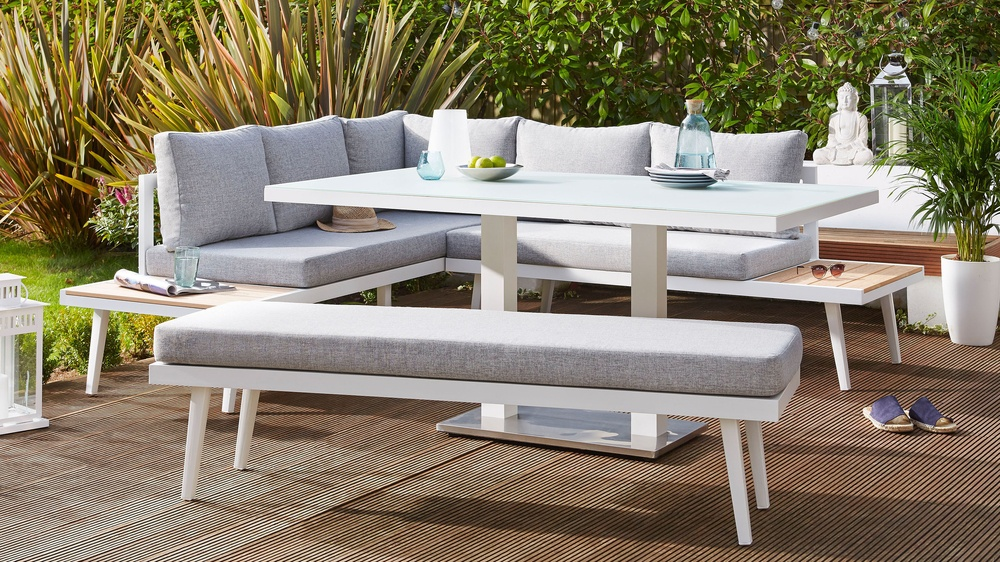 Palermo white corner bench dining set