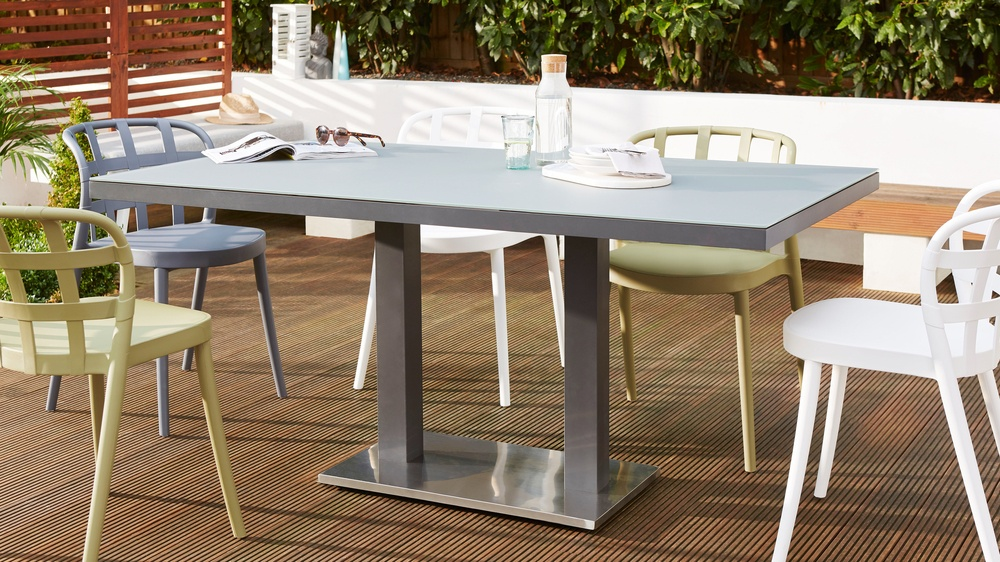 Palermo Pedestal Grey Outdoor Table And