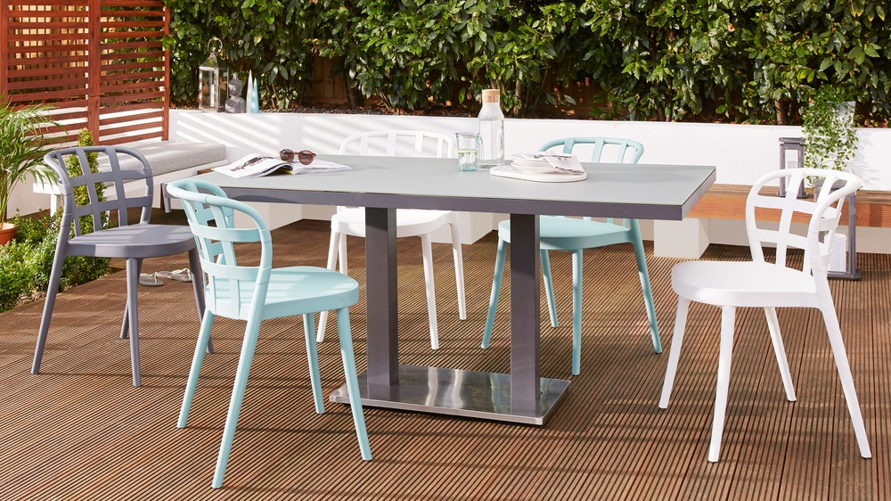 Palermo grey pedestal garden table dining set