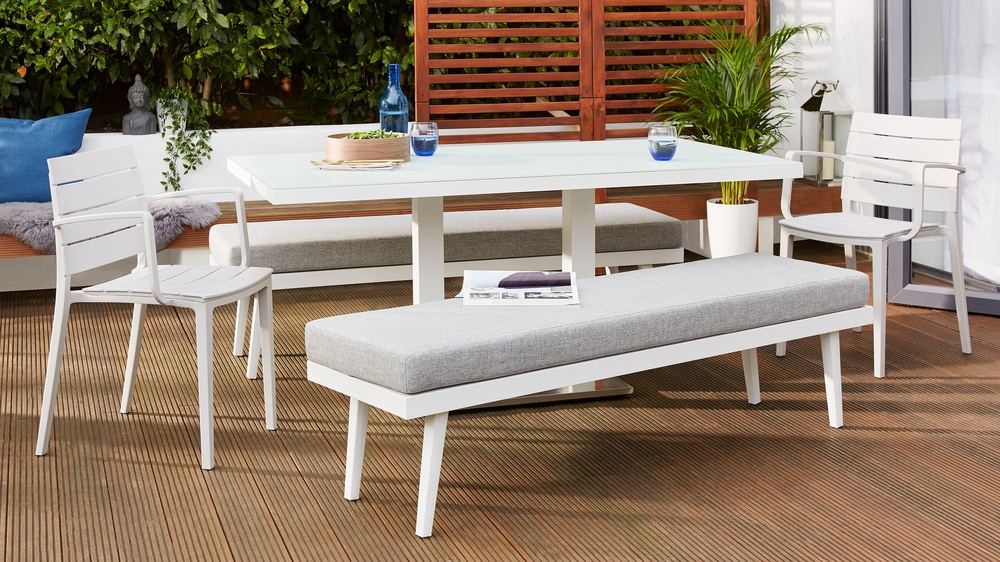 White frosted glass bench set