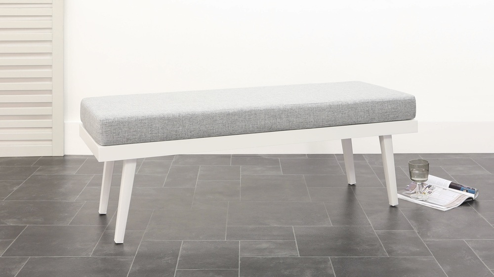 White garden dining bench