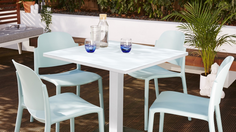 White outdoor tables